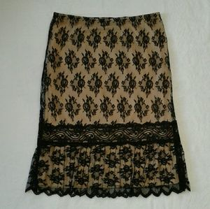 Nude black lace overlay pencil skirt Size M
